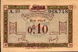 FRANCE Régie Des Chemins De Fer 0.10 Centimes 1923nd AU/SPL - Treasury