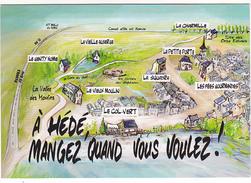 25996 Ille Et Vilaine  (35) HEDE - Mangez Quand Vous Voulez ! Restaurants - Ed Carte Com -dessin Luc Perez - Autres Communes
