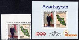 AZERBAIJAN 1999 Nakhichevan 75th Anniversary Set And Block MNH / **.  SG 460-62 - Azerbaïjan