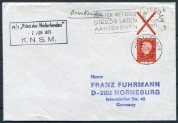 1971 Netherlands Holland Amsterdam Ship Cover R.N.S.M. M/S PRINS DER NEDERLANDEN - Covers & Documents