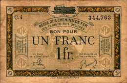 FRANCE Régie Des Chemins De Fer 1 FRANC 1923nd - Treasury