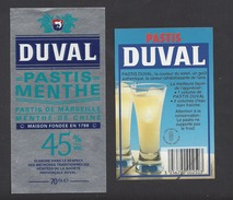 Etiquette  Pastis De Marseille Et  Menthe  De Chine  -    Sté Duval  -  Avec 1 Contre étiquette Pästis Duval - Labels