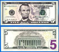 Usa 5 Dollars 2013 Neuf UNC Mint Philadelphia C3 Suffixe B Etats Unis United States Dollars US Skrill Paypal OK - Bilglietti Degli Stati Uniti (1862-1923)
