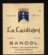 ETIQUETTE BANDOL, LA LAIDIERE 1972 - Rosés