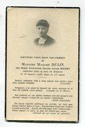 Carte De Deuil - Madame Maxime DULIN  Née Boudet - Décès