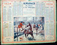 CALENDRIER ALMANACH DES POSTES PTT 1928  LE CHEVAL PEUREUX   POSTES ET TELECOMMUNICATION - Big : 1921-40