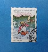 2002 ITALIA FRANCOBOLLO USATO STAMP USED MONDIALI CANOA KAYAK - 6. 1946-.. Repubblica