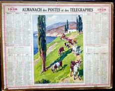 CALENDRIER ALMANACH DES POSTES PTT 1928 TROUPEAU DE CHEVRES MENTON DEPARTEMENT ARDECHE  POSTES ET TELECOMMUNICATION - Big : 1921-40