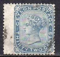 Ceylon 1872-80 32c Slate Blue Wing Marginal, Wmk. Crown CC, Perf. 14, Used SG 128 (D) - Ceylon (...-1947)