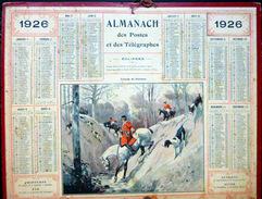 CALENDRIER ALMANACH DES POSTES PTT 1926 CHASSE A COURRE  PASSAGE DU RUISSEAU  POSTES ET TELECOMMUNICATION - Big : 1921-40