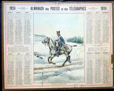 CALENDRIER ALMANACH DES POSTES PTT 1924 HUSSARD DE BERCHENY DEPARTEMENT DU CHER    POSTES ET TELECOMMUNICATION - Big : 1921-40