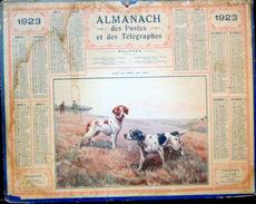 CALENDRIER ALMANACH DES POSTES PTT 1923 CHASSE ARRET SUR GIBIER  DEPARTEMENT DU CHER    POSTES ET TELECOMMUNICATION - Big : 1921-40