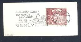 Switzerland 1959 Cancelllation; Sport; Canoe; World Championships Geneve; Weldmeisterschaft; Championats De Monde Slogan