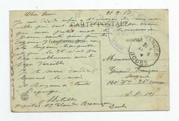 Marcophilie Cachet Hopital Sanitaire Besançon St Claude 1917 - 25 - Doubs - Marcophilie (Lettres)
