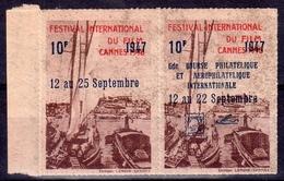 """FESTIVAL Du FILM CANNES 1946 - Paire Vignettes Surchargées """"Bourse Phil. AEROPHIL. SEPT. 1947 - Erinnophilie"""