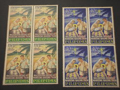 FILIPPINE - 1967 NATALE  2 VALORI, In Quartine(blocks Of Four) - NUOVI(++) - Filippine