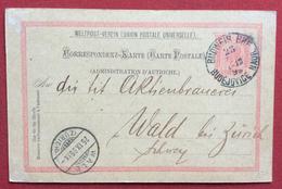 CORRISPONDENZ - KARTE  AUSTRIA  5 KR CON ANNULLI BUDEJOVICE  BUDWEIS + WALD ZURICH IN DATA 25/9/1899 - Repubblica Ceca