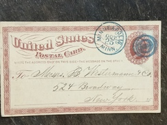 B14 United States Etats-Unis USA Stationery Entier Postal Ganzsache Psc UX3 From Minneapolis To New York