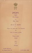 Menu Couronne Café Royal Regent Street 20 Juillet 1904 - Menus