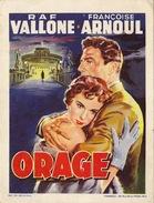 Petite Affiche De Présentation Du Film Orage Avec Raf Vallone Et Françoise Arnoul - Programmes