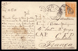 Censor Cancel WWI War CEP / Portuguese Artillery Officer, 4ªBat 2ºgrupo C.A.P. C.E.P. FRANCE 1918. Postcard Portugal - Poststempel (Marcophilie)