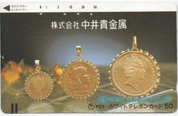 Télécarte Japonaise : Thème Pièce En OR : Gold Coins - Timbres & Monnaies