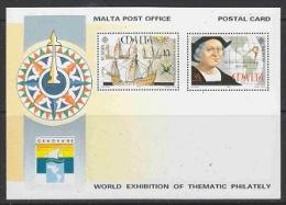 Europa Cept 1992 Malta Genova Postal Stationery Postcard Unused (19509) - Europa-CEPT