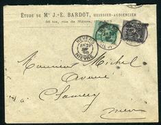 France - Cover /  Enveloppe De Nevers Pour Clamecy En 1888 , Aff. Sage Bicolore     F 51 - Storia Postale