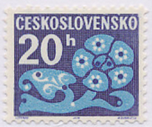 Czechoslovakia / Stamps (1971/72) D0093 (Postage Due Stamp): Stylized Flowers (folk Embroidery); Painter: I. Strnad - Postage Due