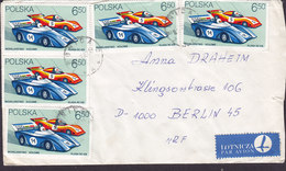 Poland LOTNICZA Par Avion Label LEGNICA 1982 Cover Brief BERLIN Germany 5x Sports Racing Cars Stamps - 1944-.... Republik