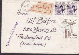 Poland EXPRÉS Label BYDGOSZCZ 1980 Cover Brief BERLIN Germany 'Rüchsendung Nicht Beantragt' Line Cds. (3 Scans) - Briefe U. Dokumente