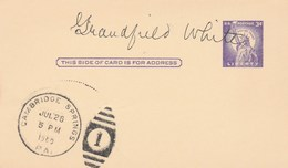 1960 SIGNED Cambridge Springs USA POSTAL STATIONERY CARD  Cover Stamps