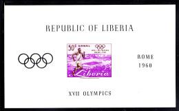 Liberia MNH 1960 #C127 Souvenir Sheet Imperf 50c Runner 1960 Summer Olympics - Liberia
