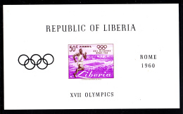 Liberia MNH 1960 #C127 Souvenir Sheet Imperf 50c Runner 1960 Summer Olympics - Ete 1960: Rome