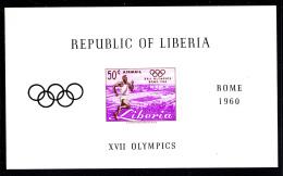 Liberia MNH 1960 #C127 Souvenir Sheet Imperf 50c Runner 1960 Summer Olympics