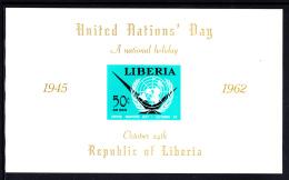 Liberia MNH 1962 #C145 Souvenir Sheet Imperf 50c United Nations Day - Liberia