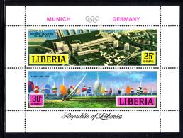 Liberia MNH 1971 #C187 Souvenir Sheet Of 2 Yachting 1972 Munich Summer Olympics - Liberia