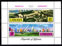 Liberia Used 1971 #C187 Souvenir Sheet Of 2 Yachting 1972 Munich Summer Olympics - Liberia