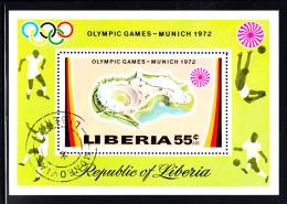 Liberia Used 1971 #C192 Souvenir Sheet 55c Olympic Stadium 1972 Munich Summer Olympics - Liberia