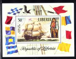 Liberia Used 1972 #C194 Souvenir Sheet 50c Lord Nelson's Ship Victory - Liberia