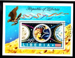Liberia Used 1973 #C196 Souvenir Sheet 55c Apollo 17 Badge, Moon, Earth - Liberia