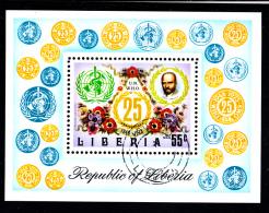 Liberia Used 1973 #C198 Souvenir Sheet 55c WHO 25th Anniversary - OMS