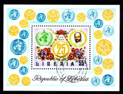 Liberia Used 1973 #C198 Souvenir Sheet 55c WHO 25th Anniversary - Liberia