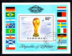 Liberia Used 1974 #C203 Souvenir Sheet 60c World Cup Trophy, Munich Stadium - Liberia