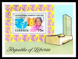 Liberia Used 1975 #C206 Souvenir Sheet 75c International Women's Year - Liberia