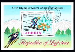 Liberia Used 1976 #C210 Souvenir Sheet 75c Downhill Skier 1976 Winter Olympics - Liberia
