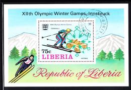 Liberia Used 1976 #C210 Souvenir Sheet 75c Downhill Skier 1976 Winter Olympics - Hiver 1976: Innsbruck