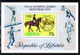 Liberia MNH 1976 #C211 Souvenir Sheet 75c Dressage 1976 Summer Olympics - Liberia