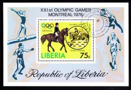 Liberia Used 1976 #C211 Souvenir Sheet 75c Dressage 1976 Summer Olympics - Liberia