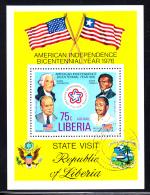 Liberia Used 1976 #C214 Souvenir Sheet 75c Washington, Ford American Bicentennial - Liberia